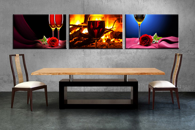 3 Piece Canvas Print Red Rose Wine Fireplace Wall Art