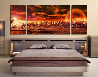 3 piece canvas wall art, bedroom huge canvas print, orange large pictures, landscape artwork