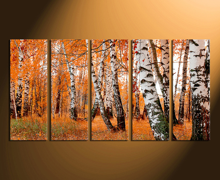 5 Piece Wall Decor, Orange Panoramic Huge Canvas Print, Scenery ...