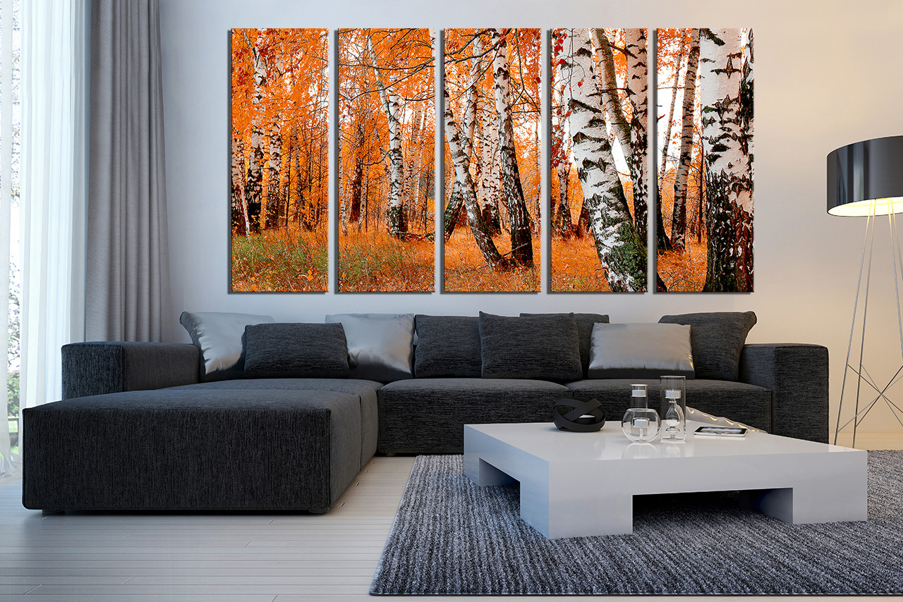 5 Piece Multi Panel Canvas, Orange Scenery Large Pictures, Trees Group  Canvas, Scenery Part 87