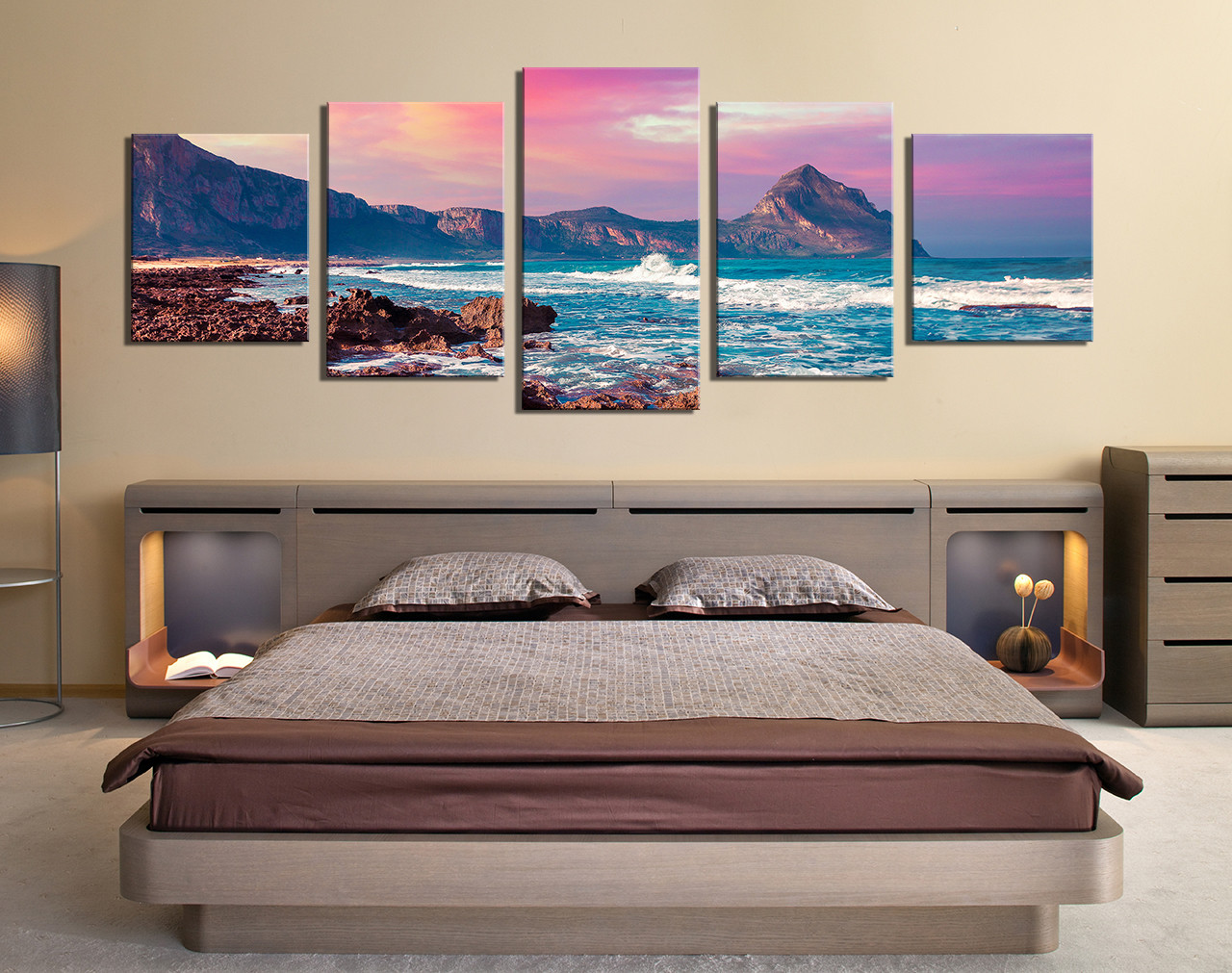 5 Piece Canvas Photography, Purple Panoramic Canvas Wall Art ...