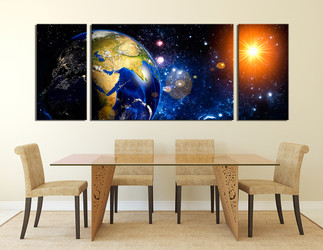 3 piece large canvas, blue planet multi panel canvas, dining room canvas photography, space huge canvas art