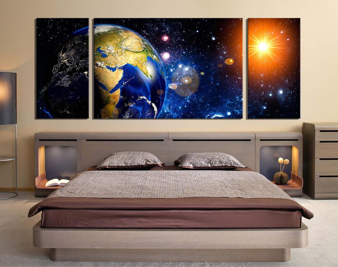 3 piece photo canvas, panoramic space canvas wall art, earth