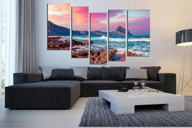 5 piece canvas print. living room huge canvas art,  mountain canvas wall art, ocean large pictures