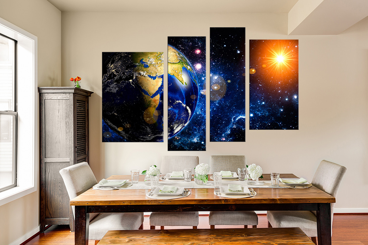 4 piece canvas photography space wall decor modern multi. Black Bedroom Furniture Sets. Home Design Ideas