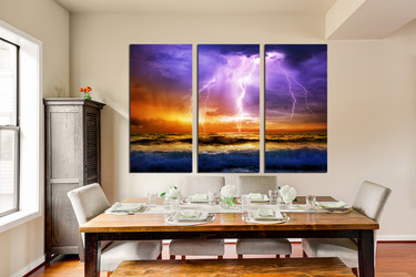 3 piece canvas print, dining room multi panel canvas, purple huge pictures, ocean multi panel canvas, sea artwork