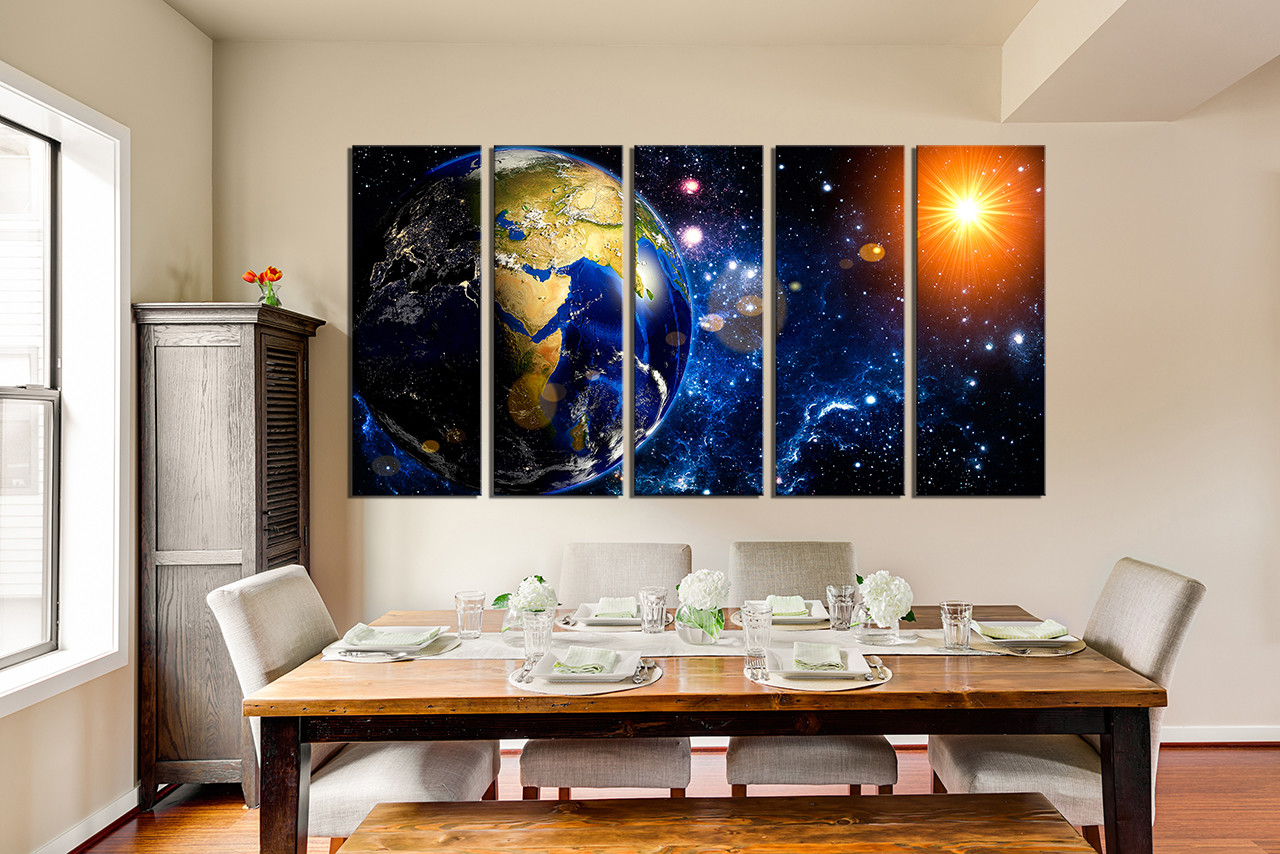 5 piece canvas wall art blue space photo canvas planet large pictures dining : large modern canvas wall art - www.pureclipart.com
