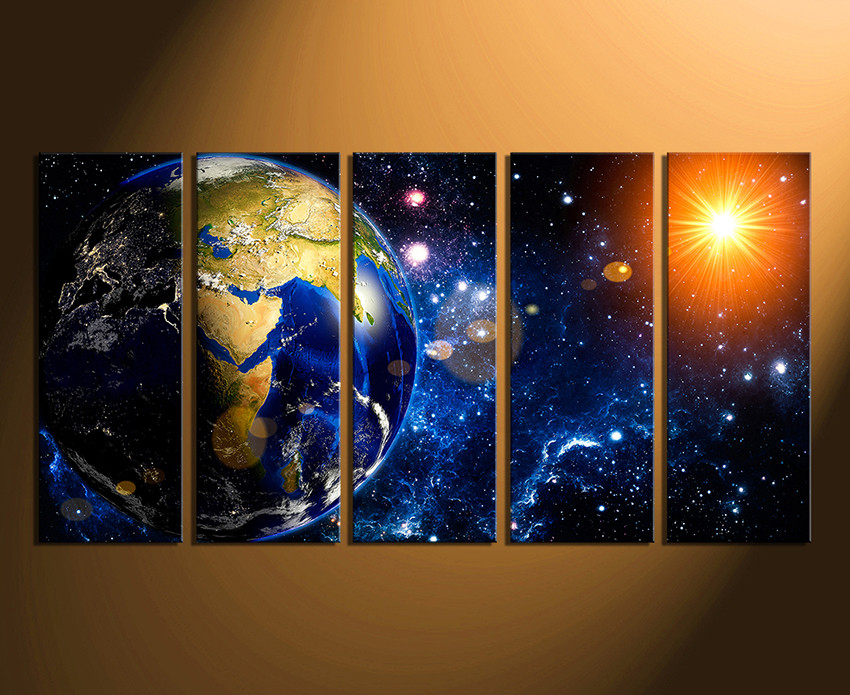 5 piece huge canvas print earth multi panel art space for Decor planet