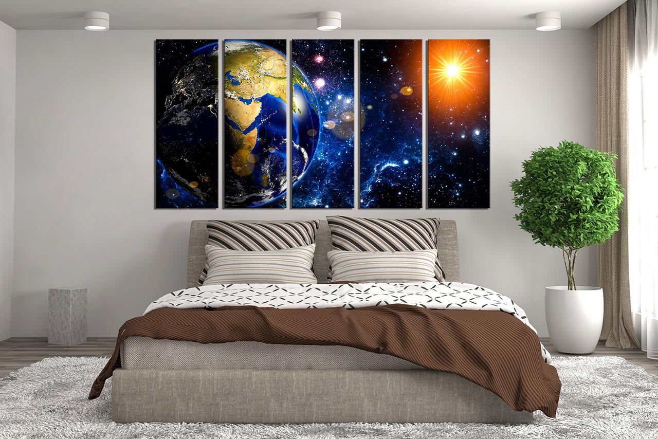Modern Art Bedroom 5 Piece Huge Canvas Print Earth Multi Panel Art Space Wall Decor