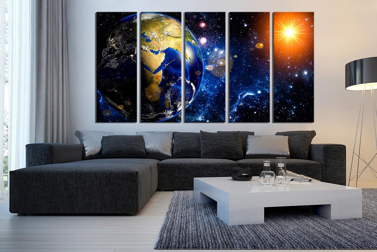 5 Piece Wall Art , Modern Huge Canvas Print, Blue Space Group Canvas, Planet