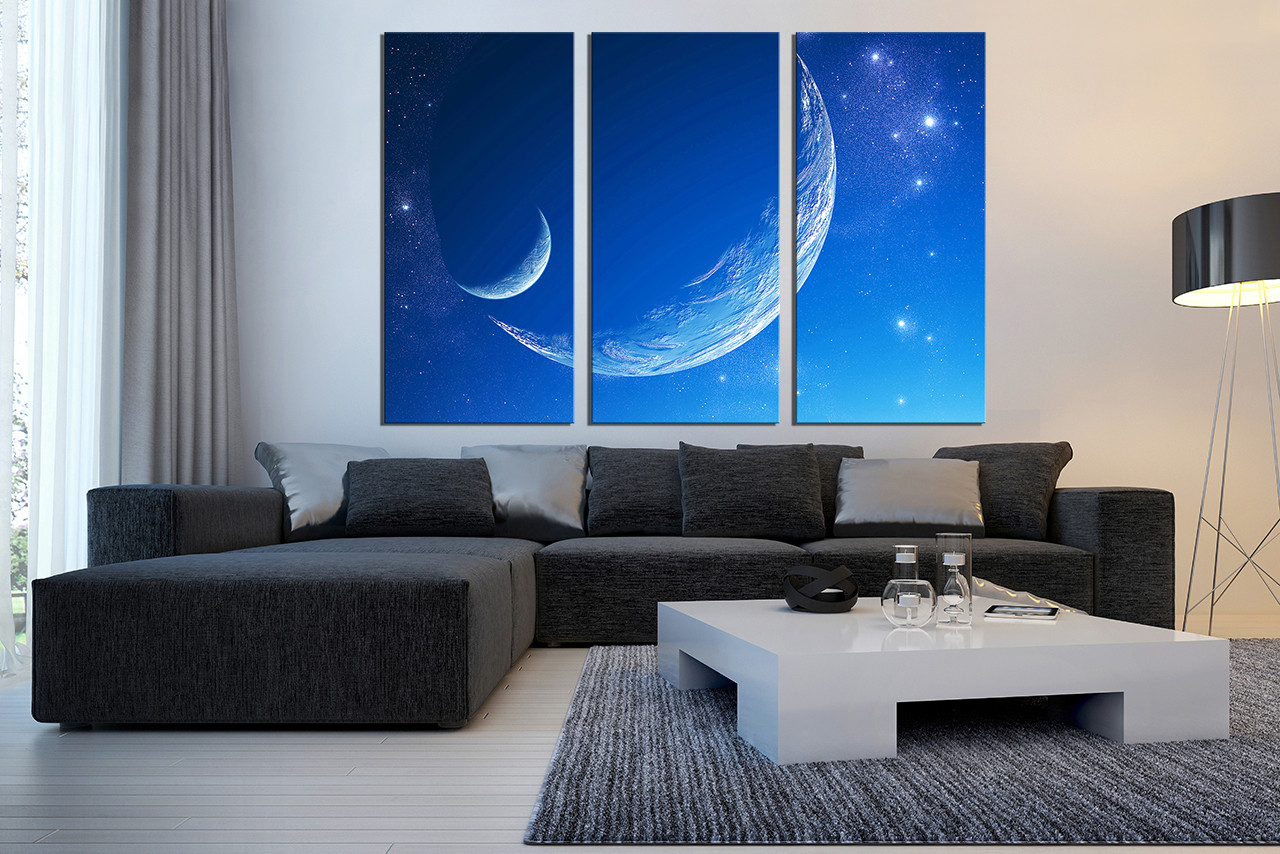 3 piece huge pictures blue modern canvas photography for Blue wall art for living room