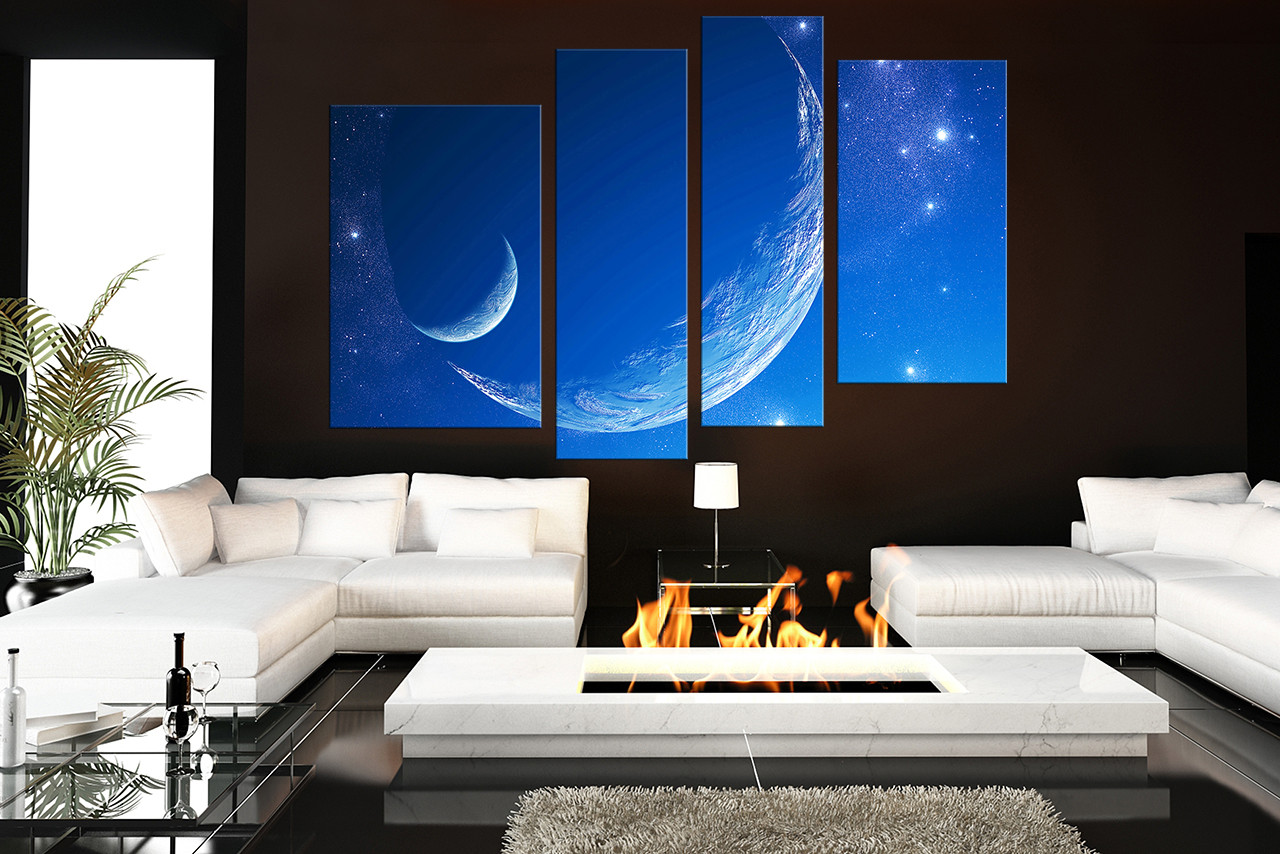 4 Piece Huge Pictures, Living Room Artwork, Blue Photo Canvas, Stars Canvas  Art Part 64