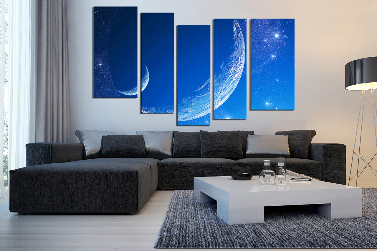 5 Piece Wall Art, Living Room Photo Canvas, Moon Large Pictures, Stars  Canvas Part 56