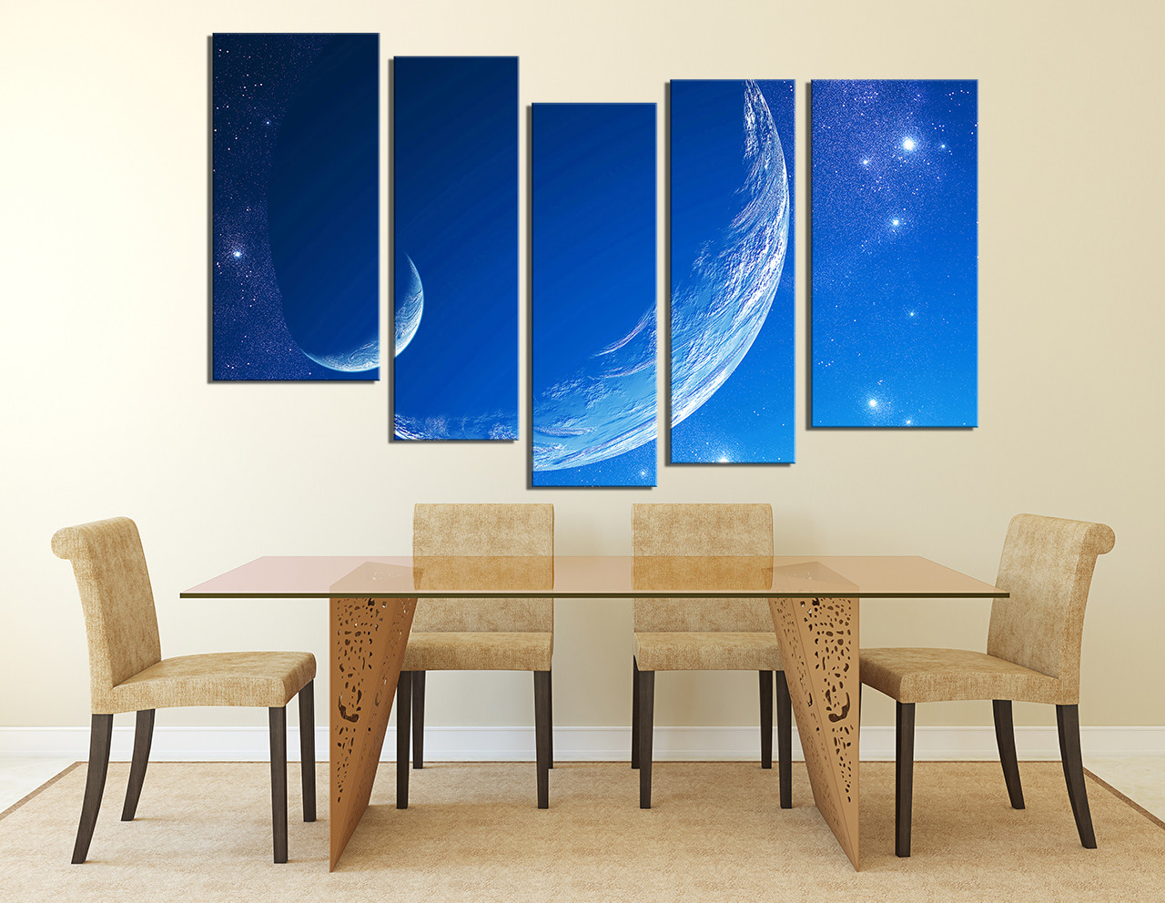 5 Piece Canvas Art Prints, Dining Room Group Canvas, Moon Canvas  Photography, Stars