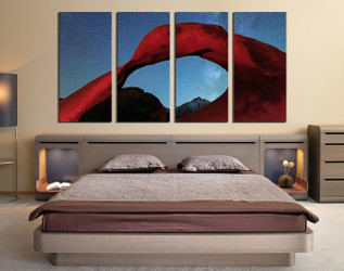4 piece canvas print, red mountain large pictures, bedroom multi panel art, landscape group canvas