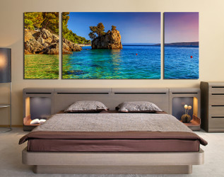 3 piece canvas wall art, ocean huge canvas print, bedroom photo canvas, sea decor, ocean artwork, mountain art