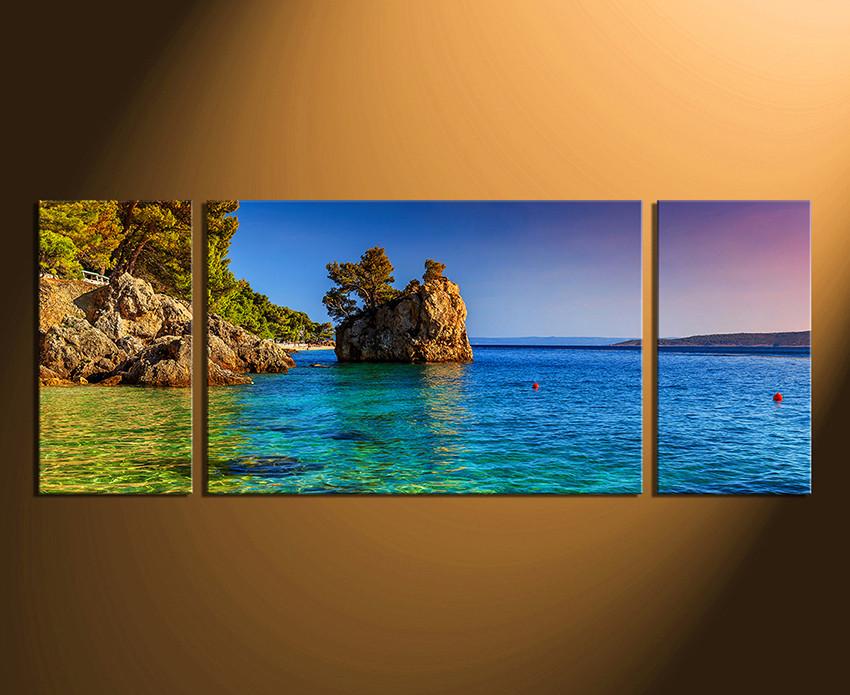 3 Piece Multi Panel Art Blue Ocean Canvas Photography Sea Huge
