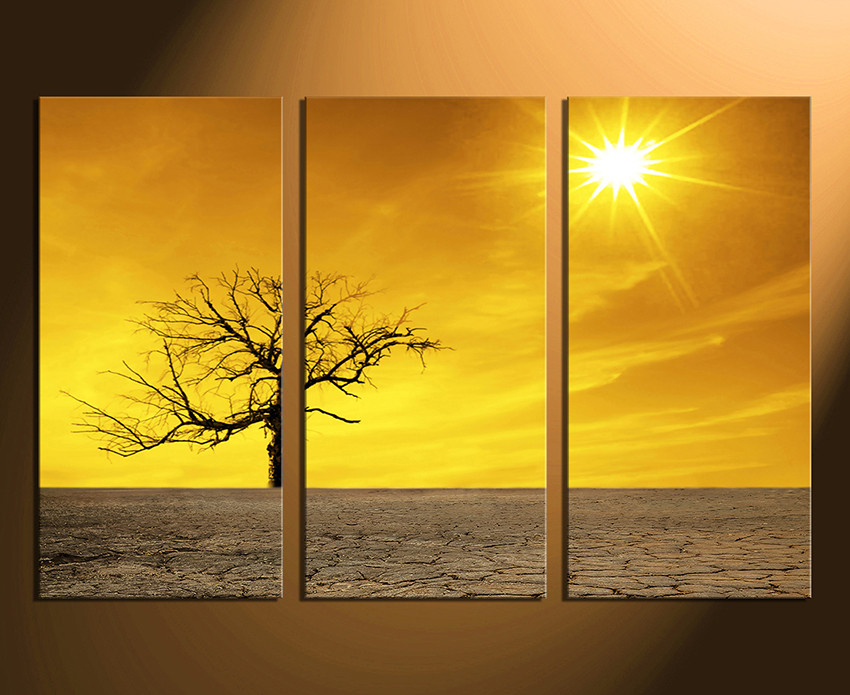 3 Piece Canvas Photography, Yellow Scenery Canvas Wall Art, Nature ...