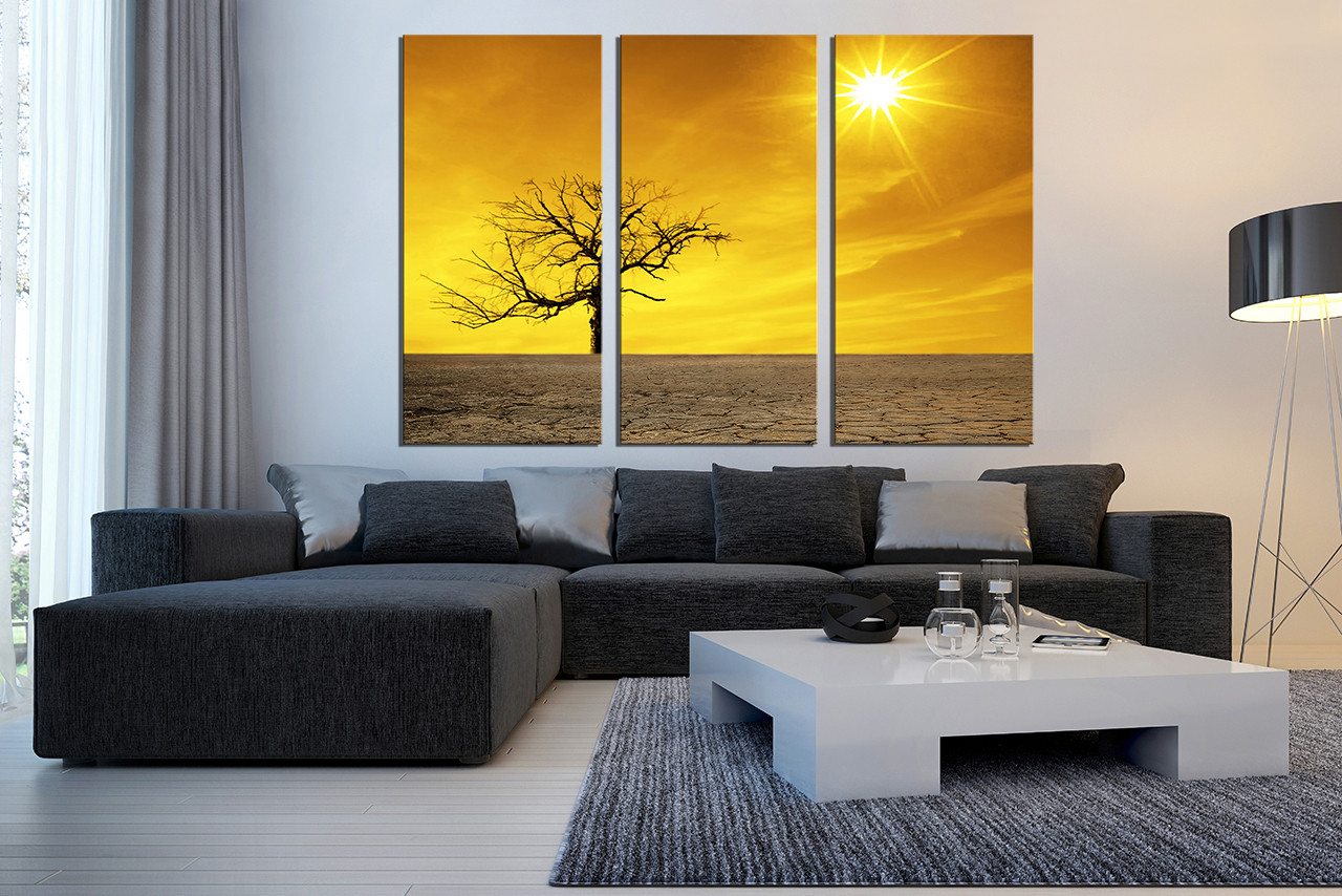 3 Piece Multi Panel Art, Yellow Canvas Photography, Living Room Huge Canvas  Art,