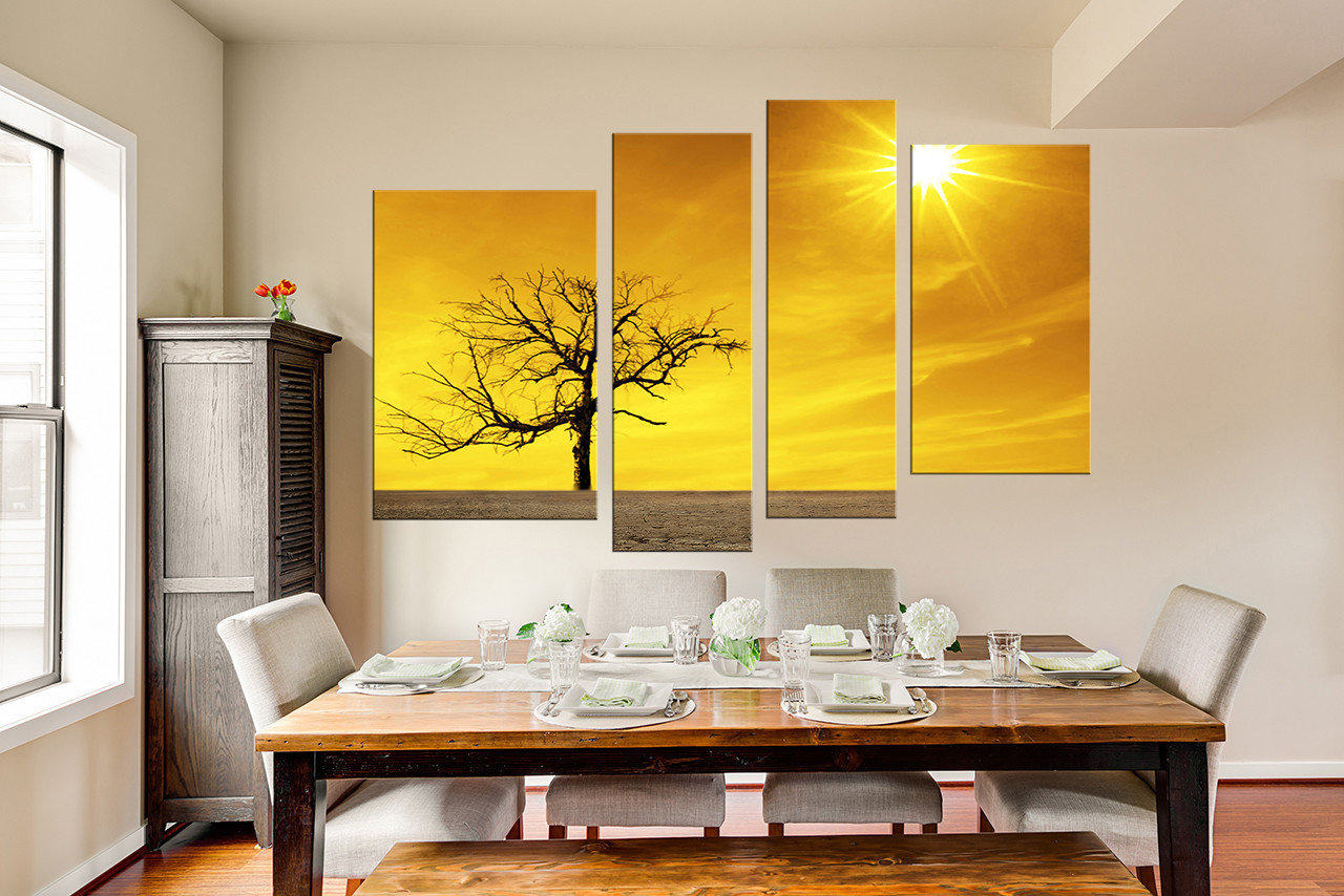 4 Piece Group Canvas, Yellow Multi Panel Art, Scenery Canvas ...