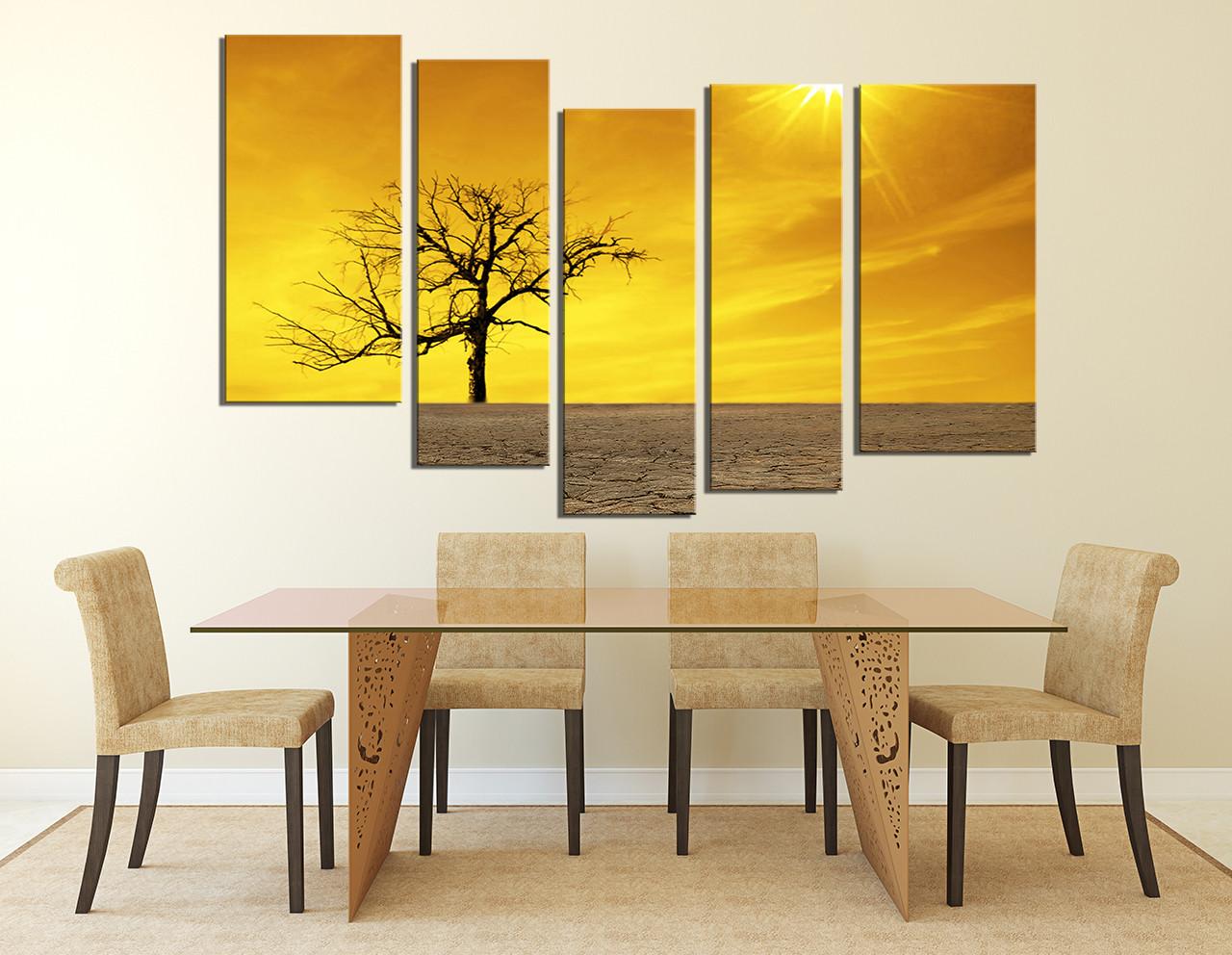 5 Piece Multi Panel Canvas, Yellow Scenery Photo Canvas, Nature ...