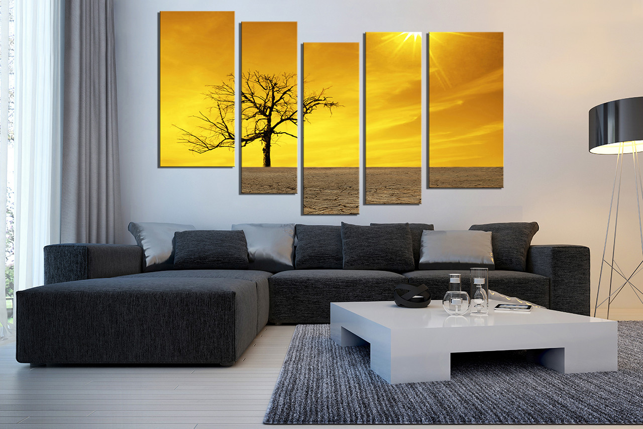 5 Piece Multi Panel Canvas, Yellow Scenery Photo Canvas, Nature ...