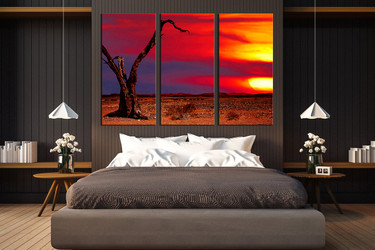 3 piece canvas wall art, bedroom wall decor, scenery canvas print, red huge canvas art, sunset  huge pictures