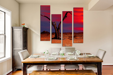 4 piece wall decor, dining room group canvas, scenery art, red huge canvas print, sunset large pictures