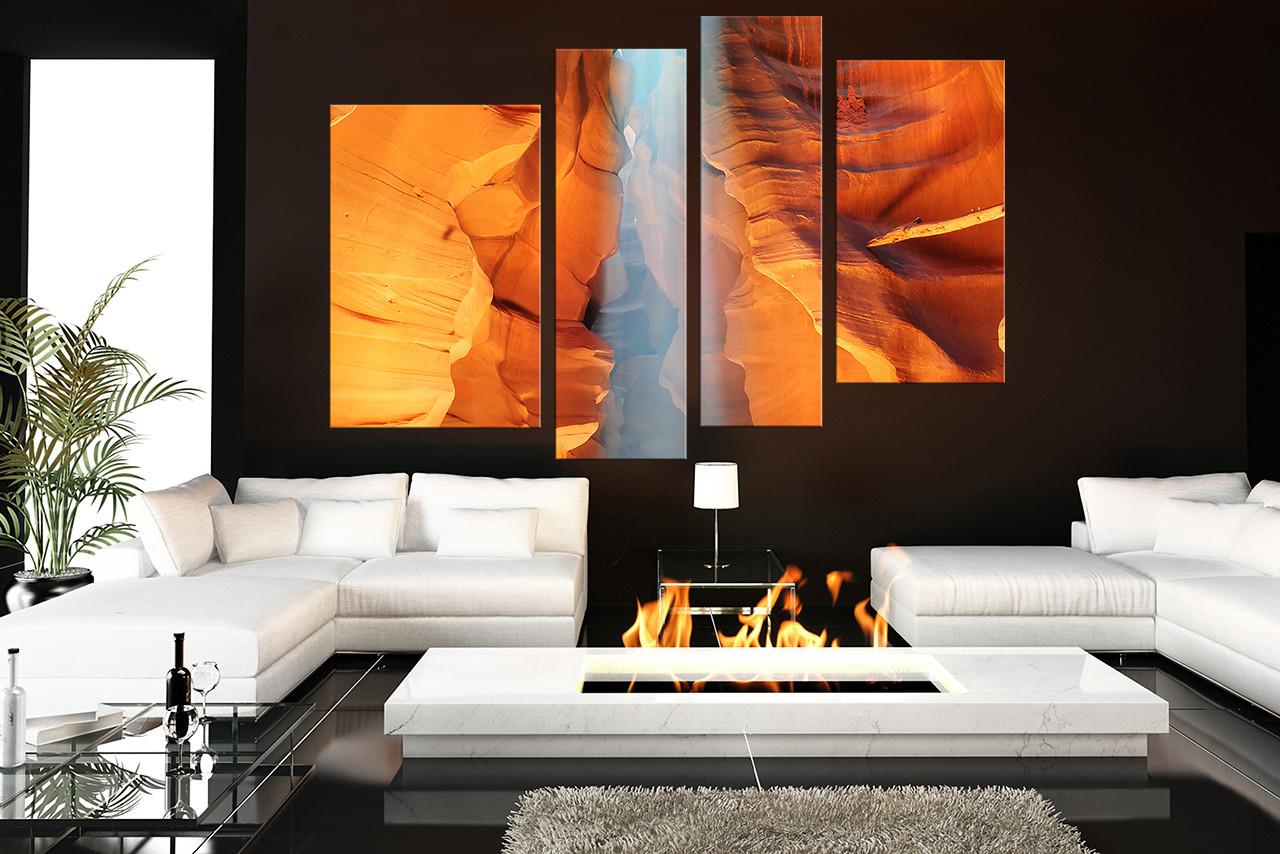 4 Piece Large Canvas, Living Room Canvas Print, Landscape Art, Orange Multi  Panel Part 60