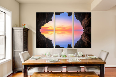 3 piece large pictures, blue canvas print, mountain canvas wall art, ocean photo canvas, dining room huge canvas art