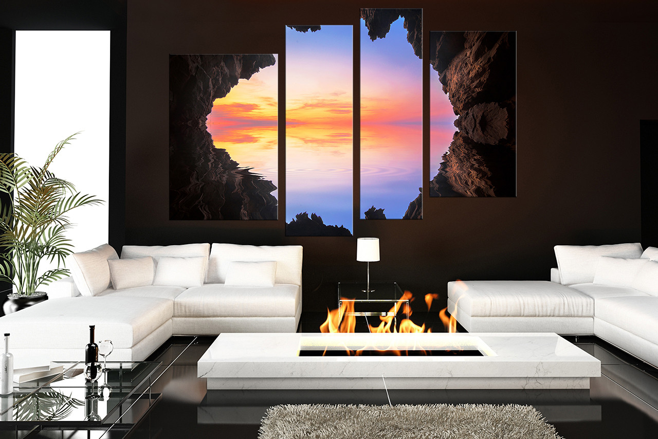 4 Piece Multi Panel Art Ocean Canvas Photography Blue Sea Canvas