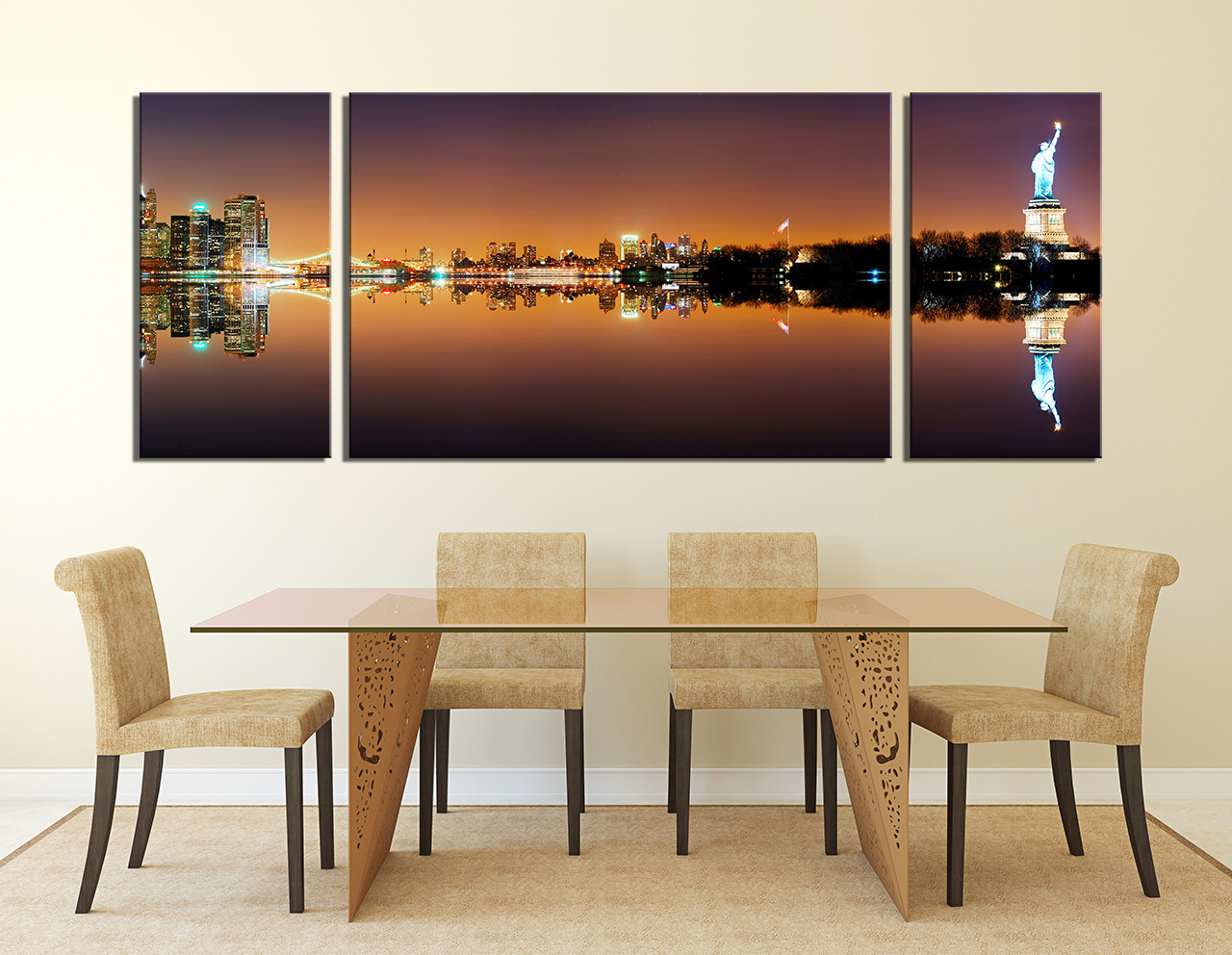 3 Piece Canvas Photography, New York City Wall Decor, City Huge ...