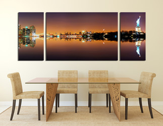 3 piece photo canvas, dining room canvas wall art, statue of liberty city art, city canvas print