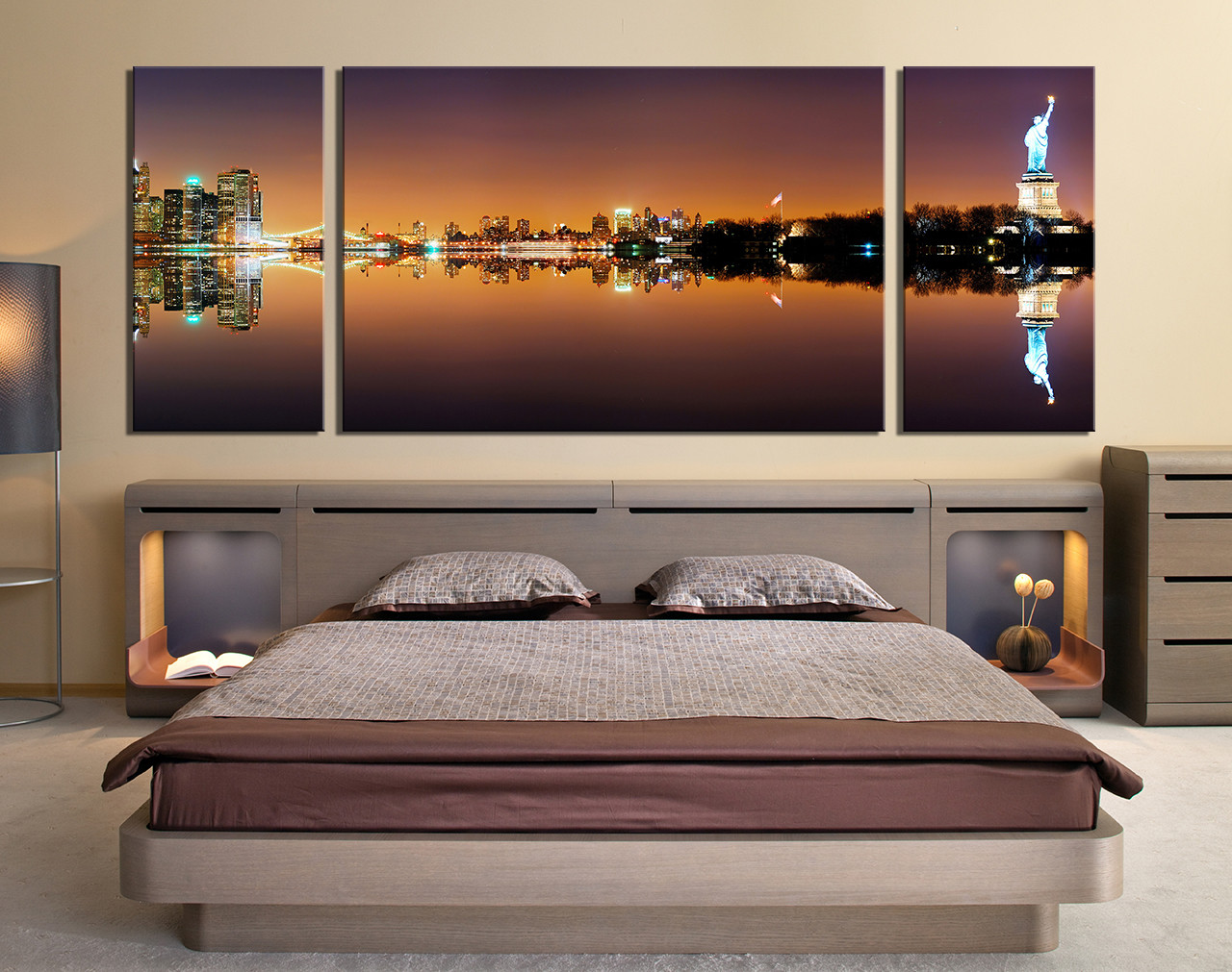 3 Piece Photo Canvas, Dining Room Canvas Wall Art, Statue Of Liberty City  Art