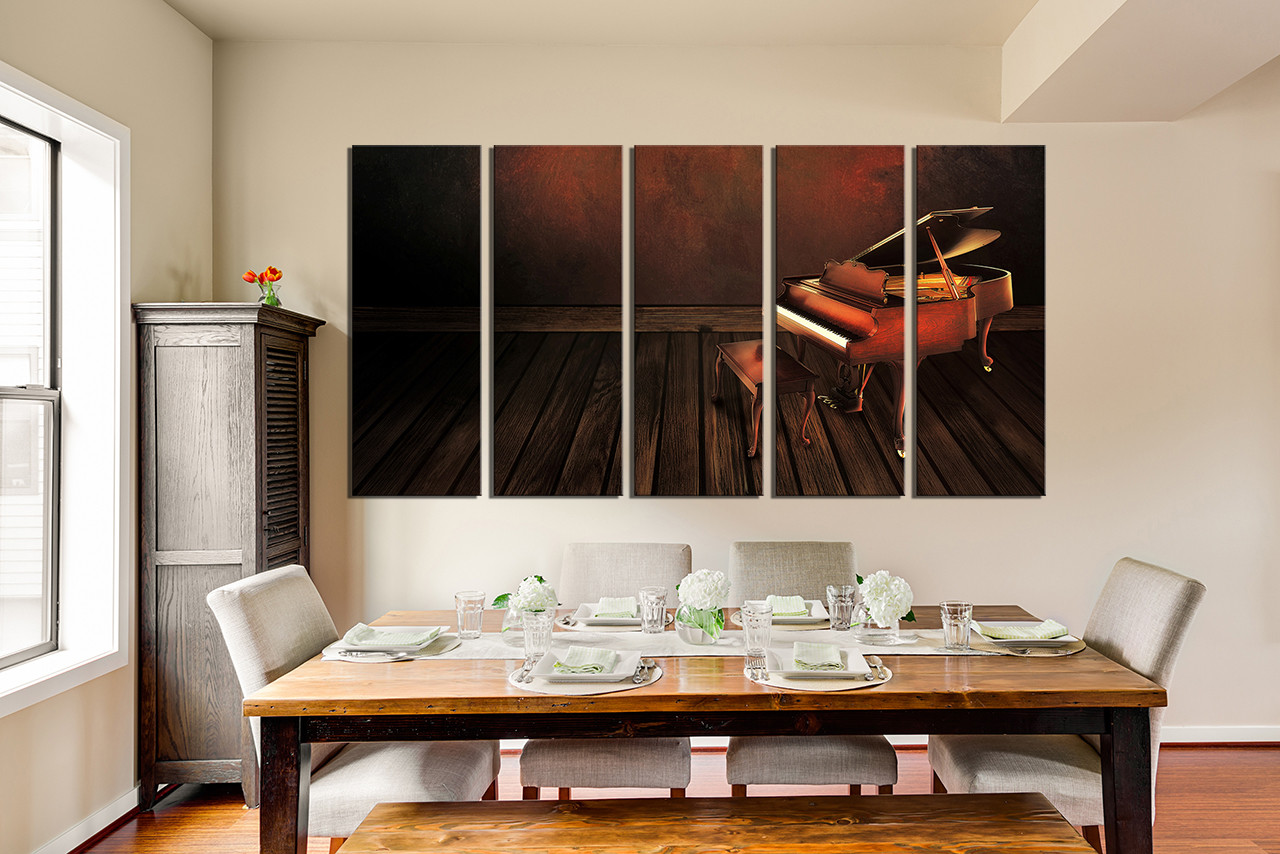 5 Piece Photo Canvas, Dining Room Multi Panel Art, Music Large Pictures,  Musical