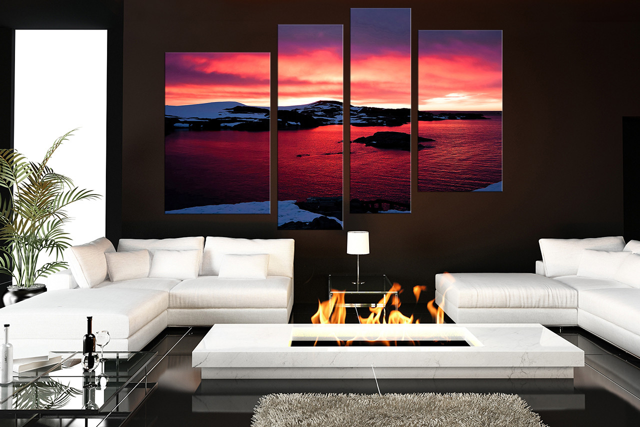 4 piece art landscape multi panel art ocean huge canvas print red large pictures for Red wall decor for living rooms