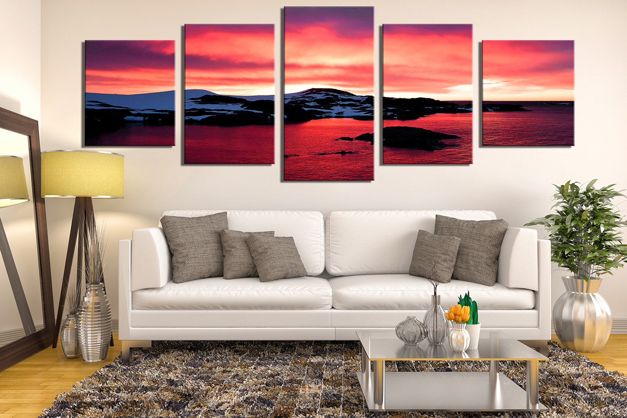 Red Canvas Wall Art 5 piece multi panel art, landscape huge pictures, ocean photo