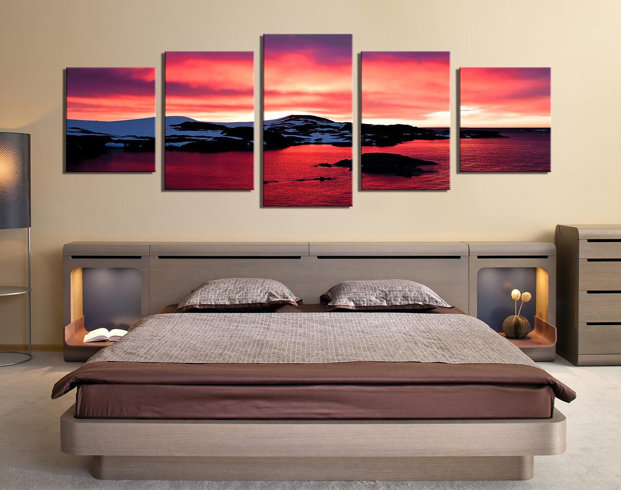 Five Piece Canvas Wall Art 5 piece multi panel art, landscape huge pictures, ocean photo