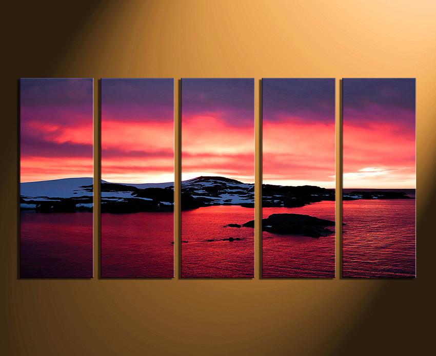 Five Piece Canvas Wall Art 5 piece huge canvas print, landscape canvas wall art, ocean wall