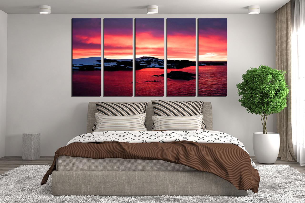 5 Piece Huge Canvas Print Landscape Canvas Wall Art Ocean Wall Decor Red Mountain Wall Decor