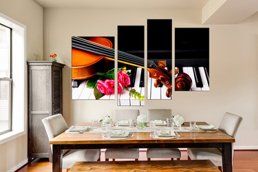 4 piece group canvas, dining room canvas wall art, piano wall decor, violin multi panel canvas, floral art