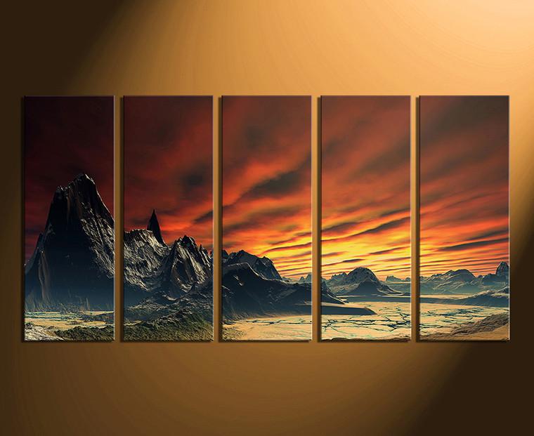 5 piece large pictures landscape wall decor orange multi for 5 piece mural