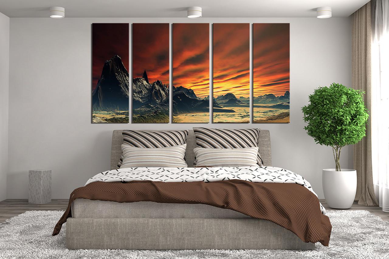 5 piece large pictures landscape wall decor orange multi panel canvas. Black Bedroom Furniture Sets. Home Design Ideas