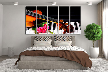 5 piece group canvas, bedroom multi panel art, violin huge pictures, music large pictures, piano canvas photography