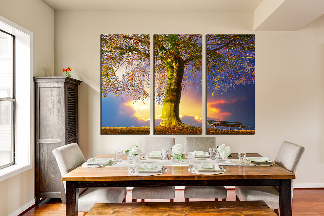 3 Piece Group Canvas, Dining Room Canvas Print, Scenery Multi Panel Canvas,  Blue