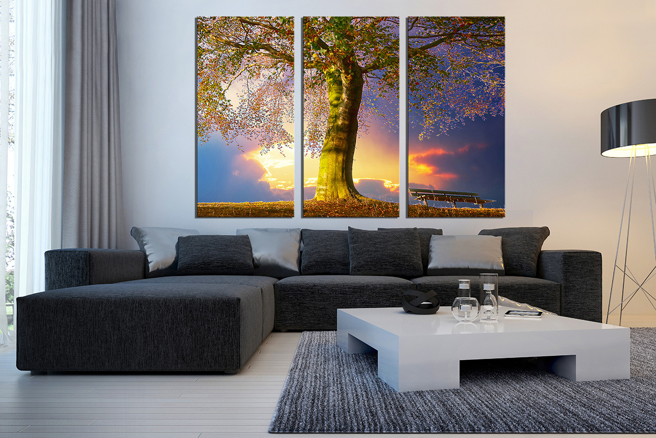 3 Piece Canvas Print Scenery Huge Canvas Art Blue Multi Panel Canvas Tree Canvas Art Prints