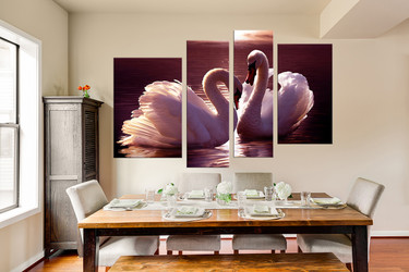 4 piece canvas print, dining room huge pictures, swan multi panel canvas, bird artwork, wildlife art