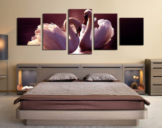 5 piece canvas wall art, bedroom multi panel art, swan huge canvas art, bird group canvas, wildlife art