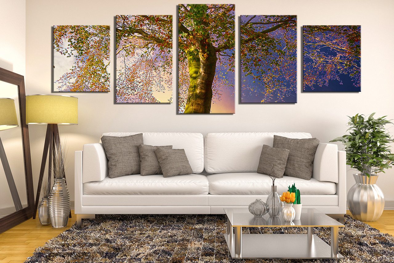 Tree Canvas Wall Art 5 piece artwork, scenery wall decor, blue photo canvas, tree