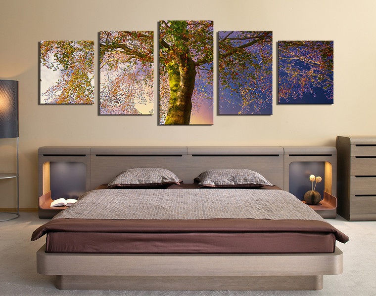 5 piece artwork scenery wall decor blue photo canvas for 5 piece mural
